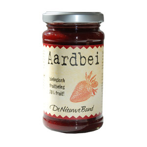 aardbei-fruitbeleg, 225g, De Nieuwe Band
