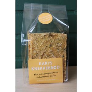 Crackers, knackebrod, mais-pompoenpit, 9stuks-150gr, Kari s crackers