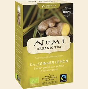 Decaf green tea ginger lemon, 18x1kop (Numi, bio)