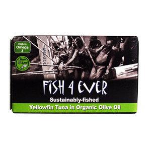 Geelvin-tonijn in olijfolie, Fish 4 Ever, 120g