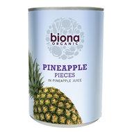 ananasstukjes op sap in blik, 425g, Biona